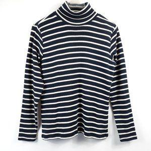 L. L. Bean Cotton Striped Turtleneck Sweater S